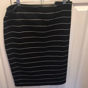 Black and white striped soft pencil skirt